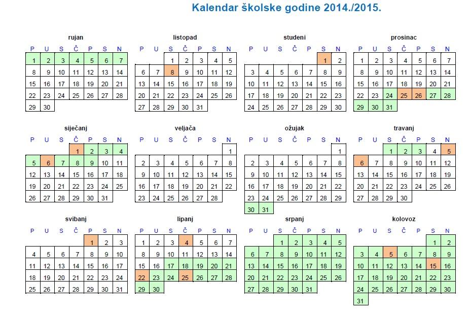 ... Šenoa Osijek - Naslovnica - Kalendar školske godine 2014./2015